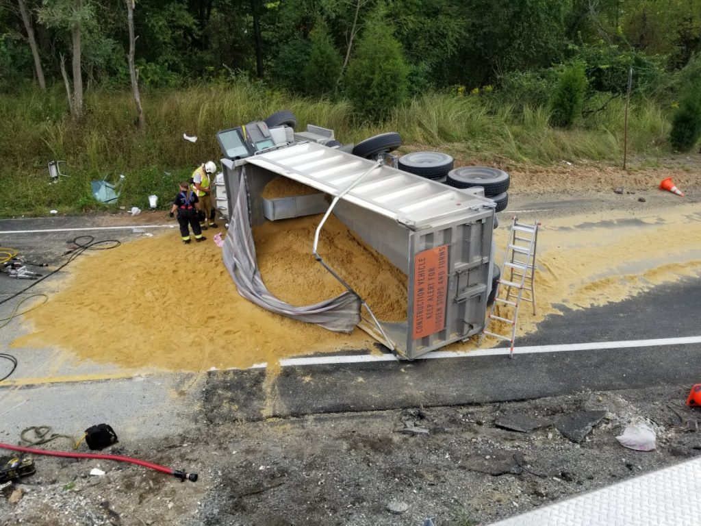 DUMP TRUCK OVERTURNED WITH ENTRAPMENT ON 83